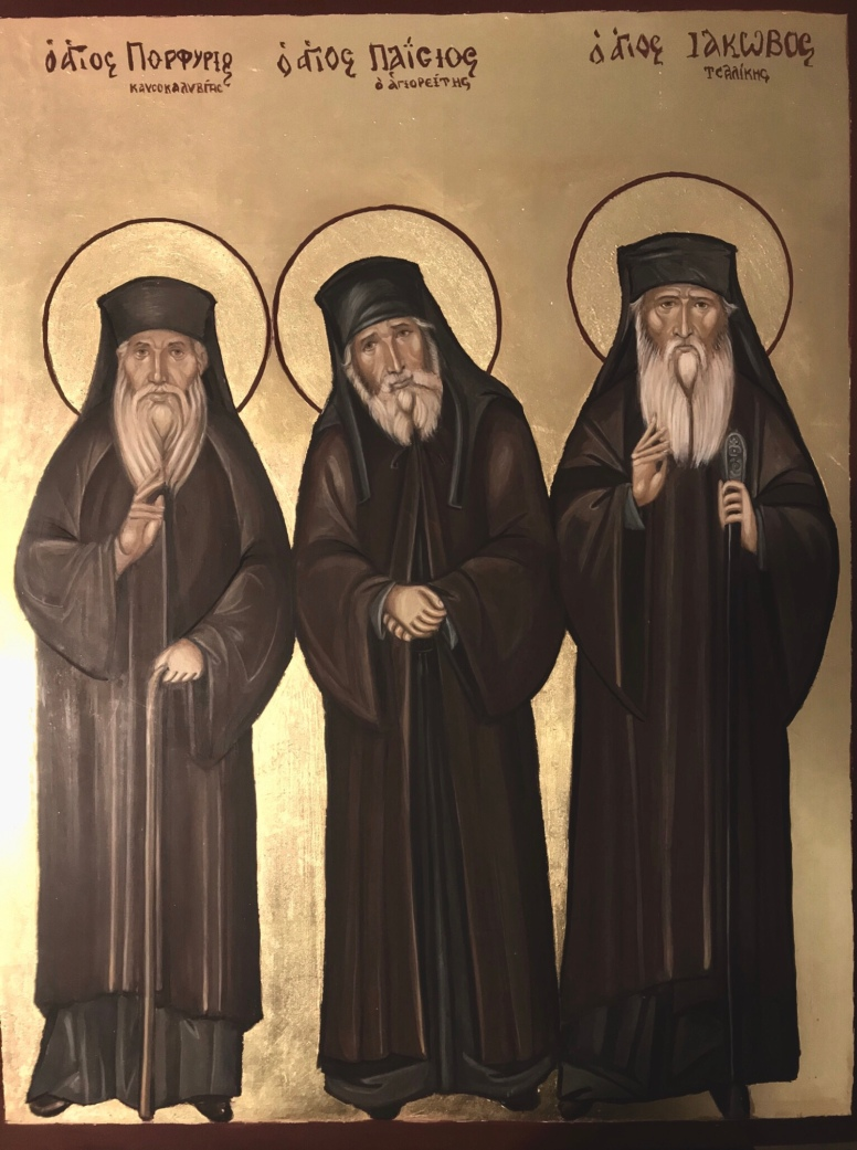 An Icon of Saint Paisios Saint Porfirios and Saint Iakovos